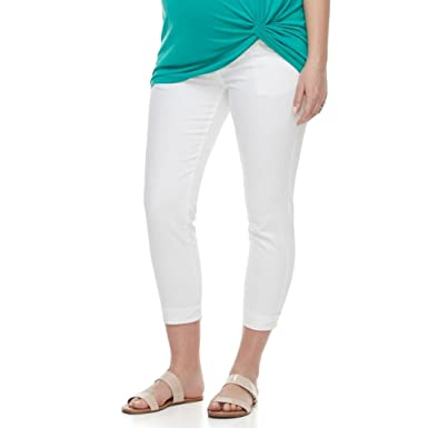 81bf25f55189b a:glow Maternity Belly Panel Faded Capri Jeans (Bright White, 6-Mat ...