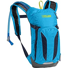 CamelBak Mini M.U.L.E. Kids Hydration Backpack, 50 oz 10 KIDS' BIKING HYDRATION PACK: CamelBak Kids' Mini M.U.L.E. Pack is small enough for kids to carry 1.5L of water. It's lightweight with a built-in safety whistle, extra storage pockets, and reflective accents for visibility in low-light environments. MORE WATER PER SIP: Crux reservoir delivers 20% more water per sip, with an ergonomic handle for easier refilling, and an on/off lever that makes preventing leaks simple. The kid-friendly and easy to use on/off switch supplies the water kids need. COMFORTABLE & FUNCTIONAL BACKPACK: Mini M.U.L.E. hydration backpack has a bike tool organizer pocket, a breathable mesh back panel for a cool & comfortable ride, and a stretch overflow pocket perfect for stashing a rain shell or extra layer.