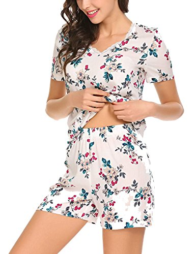 wear Short Sleeve Top and Flower Print Pajama Shorts Set, Pattern 1, M ()