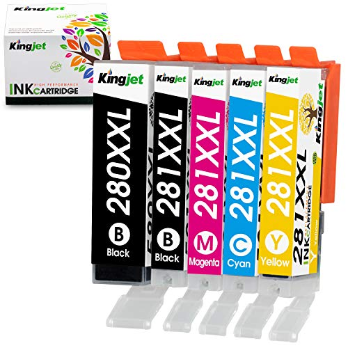 Kingjet Compatible Ink Cartridge Replacement for PGI-280XXL CLI-281XXL Work with TR7520 TR8520 TS6120 TS6220 TS8120 TS8220 TS9120 TS9520 TS9521C Printers, 5-Color Combo Pack(1PGBK 1BK 1C 1M 1Y) ()
