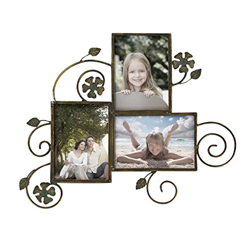 Adeco PF0523 Decorative Bronze-Color Iron Wall Hanging Collage Picture Photo Frame, 5 X 7 -