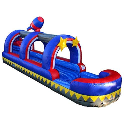 - JumpOrange Commercial Grade Inflatable Rocket 1958 Single Lane Slip and Slide and Blower, Party Combo Moonwalk, 100% PVC VINYL