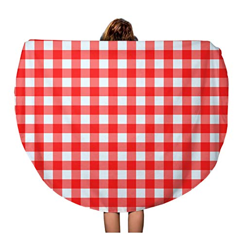 Semtomn 60 Inches Round Beach Towel Blanket Gingham Red and White Checked Pattern Picnic Table Plaid Travel Circle Circular Towels Mat Tapestry Beach Throw