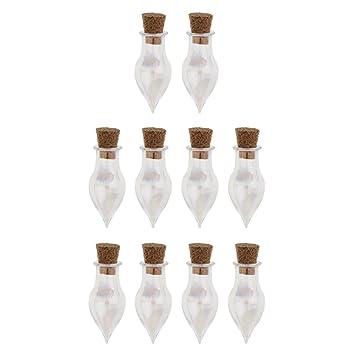 Prettyia 10 Unidades de Botellas de Cristal de Corcho Botellas de Deseo de Decoracion de Césped