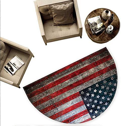 (American Flag Semicircular Cushion Royalty Flag Textured US Backdrop on Damaged Board Plate Design Artwork Print Entry Door Mat H 70.8