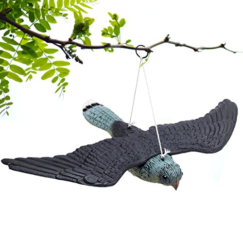 BRITENWAY Premium Bird Repellent Fake Flying Hawk Decoy Hanging Lifelike Predator Scarecrow Diverter...