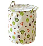 Kimjun Waterproof Coating Foldable Cotton Linen Laundry Hamper Basket Kids Toy Organizer Storage Basket (Trees + Animals)