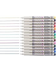 Sakura 14 Pcs Pigma Micron Fine Line Pen Set Assorted Colours 05# 0.45mm Ink Drawing Pens Set with Pen Case
