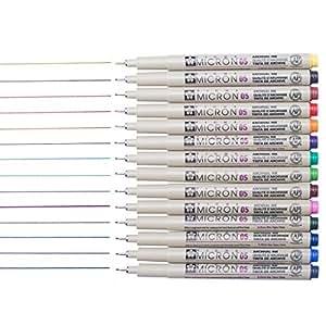 Sakura 14 Pcs Pigma Micron Fine Line Pen Set Assorted Colours 05# 0.45mm Ink Drawing Pens Set with Pen Case