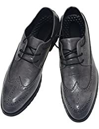 Men's Cap-Toe Laces Flat Dress Oxford Leather Shoes Business British Style