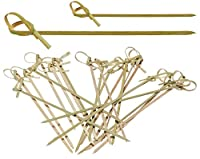 Prexware Combo Pack Bamboo Knot Skewers, 4 Inch Knotted Skewers and 6 Inch Knotted Skewers, Twisted Ends Bamboo Skewers Cocktail Picks (4 / 6 Inch Combo Pack)