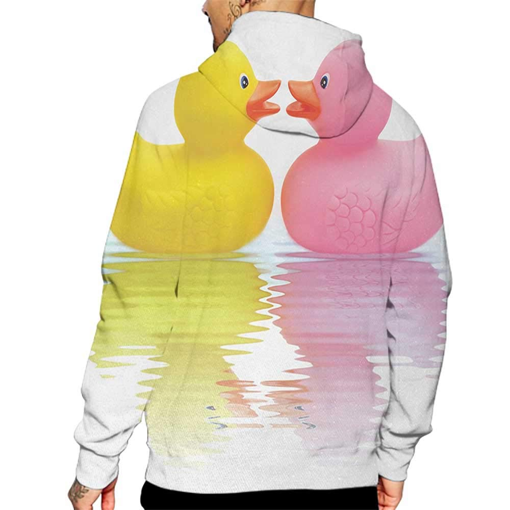 Hoodies Sweatshirt/ Men 3D Print Rubber Duck,Rubber Duck Couple in Love Romantic First Love Childhood Kids Theme,Yellow Pink White Sweatshirts for Men Prime