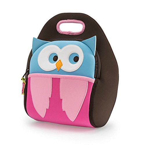 (Dabbawalla Bags Hoot Owl Kids' Insulated Washable & Eco-Friendly Lunch Bag Tote Pink/Brown/Blue)
