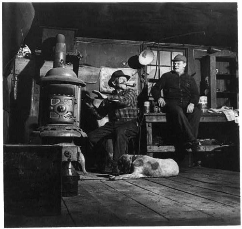 HistoricalFindings Photo: Andrew Scavnicky,John Mikula,Coal Miners,Workshop,Dog,Warming Hands at Stove