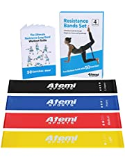 Atemi Sports Resistance Bands | Exercise Bands Set Of 4 Mini Resistance Loops Plus 50-Exercise Workout Booklet | Quality Latex Mini Resistance Bands | Four Resistance Levels For Strength