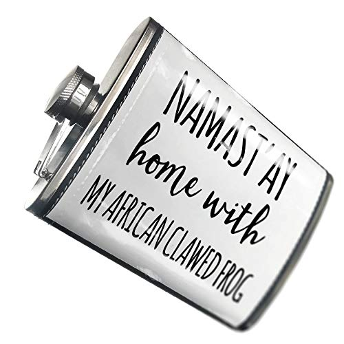 NEONBLOND Flask Namast'ay Home With My African Clawed Frog Simple Sayings Hip Flask PU Leather Stainless Steel ()