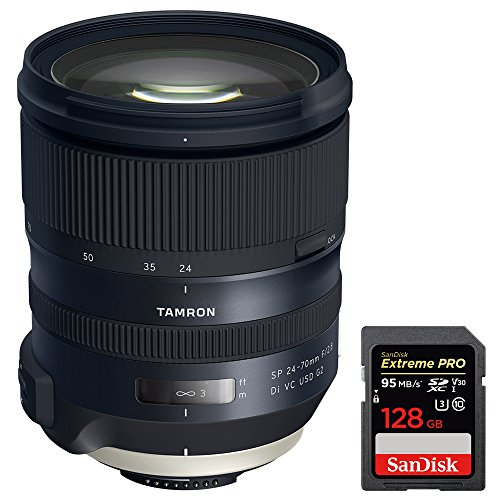 Tamron (AFA032N-700) SP 24-70mm f/2.8 Di VC USD G2 Lens for Nikon Mount + Sandisk Extreme PRO SDXC 128GB UHS-1 Memory Card by Beach Camera