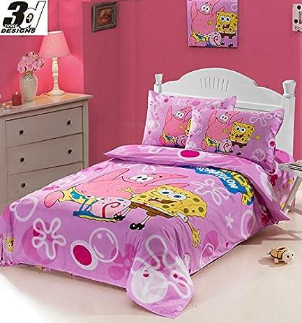 Children 3pcs Bedding Set Twin Size Pink Spongebob Printed Girlu0027s Single  Bed Comforter/duvet Cover