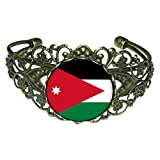 GiftJewelryShop Bronze Retro Style Jordan flag Flower Cuff Bangle Bracelet Fashion Jewelry