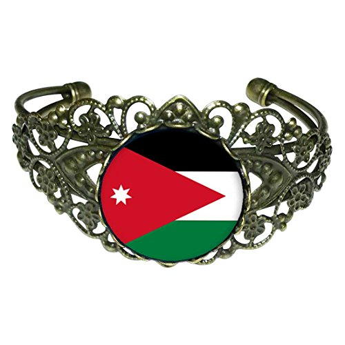 GiftJewelryShop Bronze Retro Style Jordan flag Flower Cuff Bangle Bracelet Fashion Jewelry by GiftJewelryShop