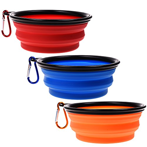(COSMOS 3 Pack Silicone Portable Collapsible Folding Dog Bowl for Pet Cat Food Water Feeding )
