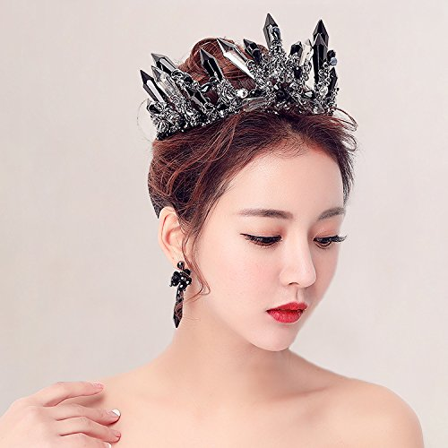 Quantity 1x trim_edge_ Headdress _black_retro_ crystal _Pillar_exaggeration_ Crown Tiara Party Wedding Headband Women Bridal Princess Birthday Girl Gift _floor_ decorated Wedding _