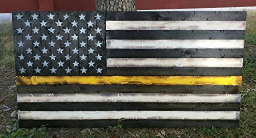 Wooden Rustic Style Thin Gold Line Dispatchers American Flag (19''x37'') by Cowboy Capital Rustic Signs