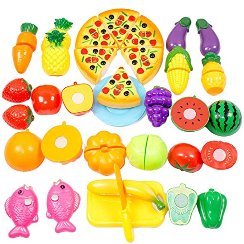 Play Food, WOLFBUSH 24Pcs Plastic Fruit Vegetable Kitchen Cutting Toy Food Playset Pretend Play Food Sets (Kitchen Toy Fruit compare prices)