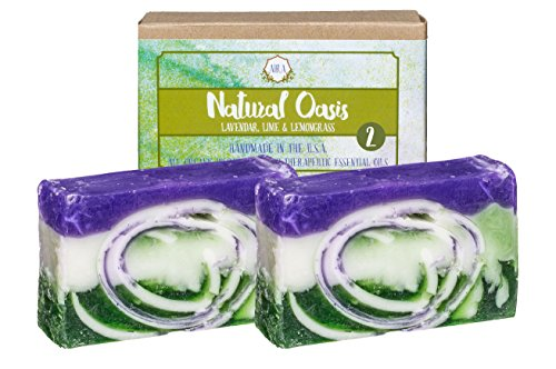 AIRA Handmade Organic Soap – Herbal Bar Body Soap Infused with Lavender, Lime & Lemongrass Extract - Certified Organic Ingredients & Therapeutic Essential Oils –No-Chemical Handmade Soap (8 Ounces) (Pink Root Beer)