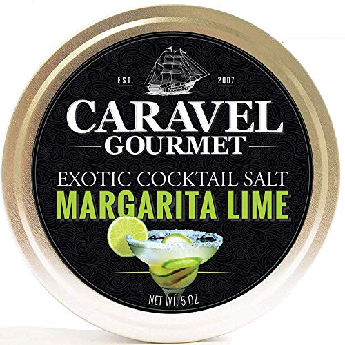 - Caravel Gourmet Margarita Lime Exotic Cocktail Salt - All-Natural Glass Rimmer & Finishing Sea Salt, Blended & Infused with Lime Zest - No MSG, Non-GMO, Gluten-Free - 5 oz. Stackable Tin