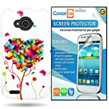 zte reef phone accessories - CoverON ZTE Reef Hard Plastic Slim Case Cover Bundle with Clear Anti-Glare LCD Screen Protector - Pink Green Butterfly Heart