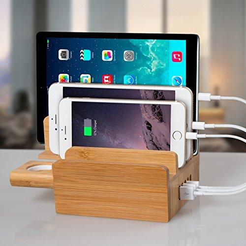 Bambus 3 in 1 Multischnittstelle USB Bambus Ladestation Universell  Ladegerät plus Kabel Organizer ALL-DOCK Dockingstation Ladeständer  Ladedocks(40W ...