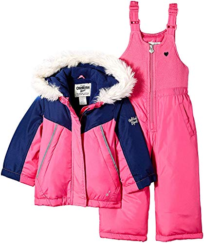 OshKosh B'Gosh Girls' Little Ski Jacket and Snowbib Snowsuit Outfit Set, Indigo Blue/Dynamite Pink, 5/6