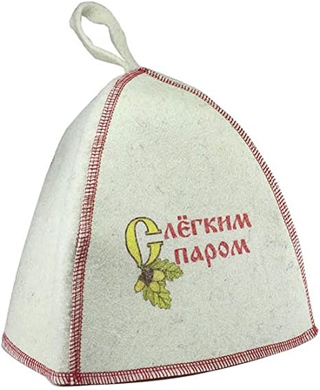 Eva Felt Sauna Hat White Embroidered in Russian We dont fight we steaming