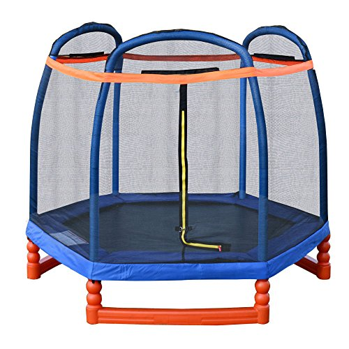 7FT-Round-Trampoline-Combo-w-Safety-Enclosure-Net-Outdoor-Bouncer-Jump-Kids