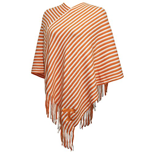 NCAA Tennessee Volunteers FeWomen's Campus Specialties Striped Team Poncho, UT Orange/White, One Size