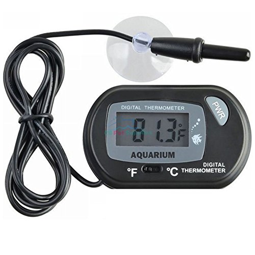 NEW! Digital LCD Aquarium Fish Thermometer Water Terrarium Black FREE Batteries (4 Quantity)