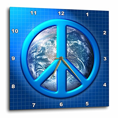 Peace on Earth Large Blue Peace Sign Over The Planet Earth