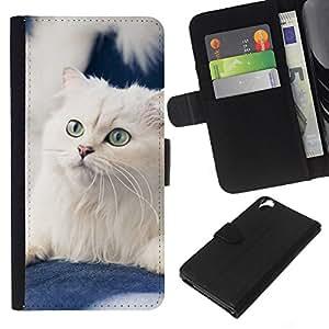 White American Curl Norwegian Cat - la tarjeta de Crédito Slots PU Funda de cuero Monedero caso cubierta de piel HTC Desire 820