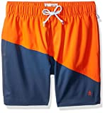 Original Penguin Men's Colorblocked Elastic Volley Swim, Flame, Large