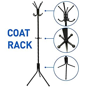 EasyGoProducts EGP-RACK-001-2 Liverpool Metal Stand – 6′ Tall-Use with Jackets, Scarves, Purses, Suits, Umbrellas and Backpacks-Entryway Coat Rack Hat Hanger, Black