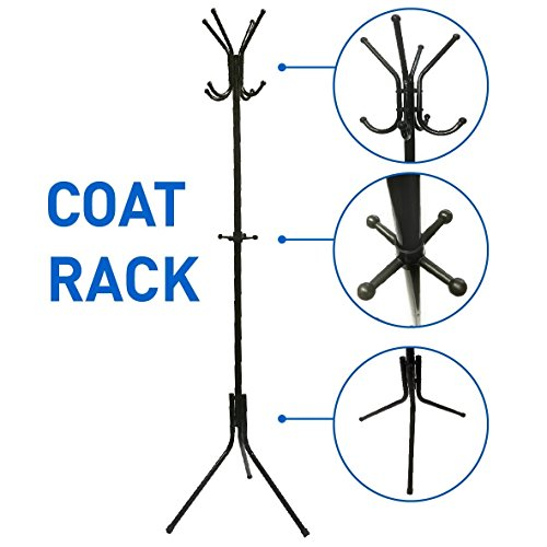 - EasyGoProducts EGP-RACK-001-2 Liverpool Metal Stand - 6' Tall-Use with Jackets, Scarves, Purses, Suits, Umbrellas and Backpacks-Entryway Coat Rack Hat Hanger, Black