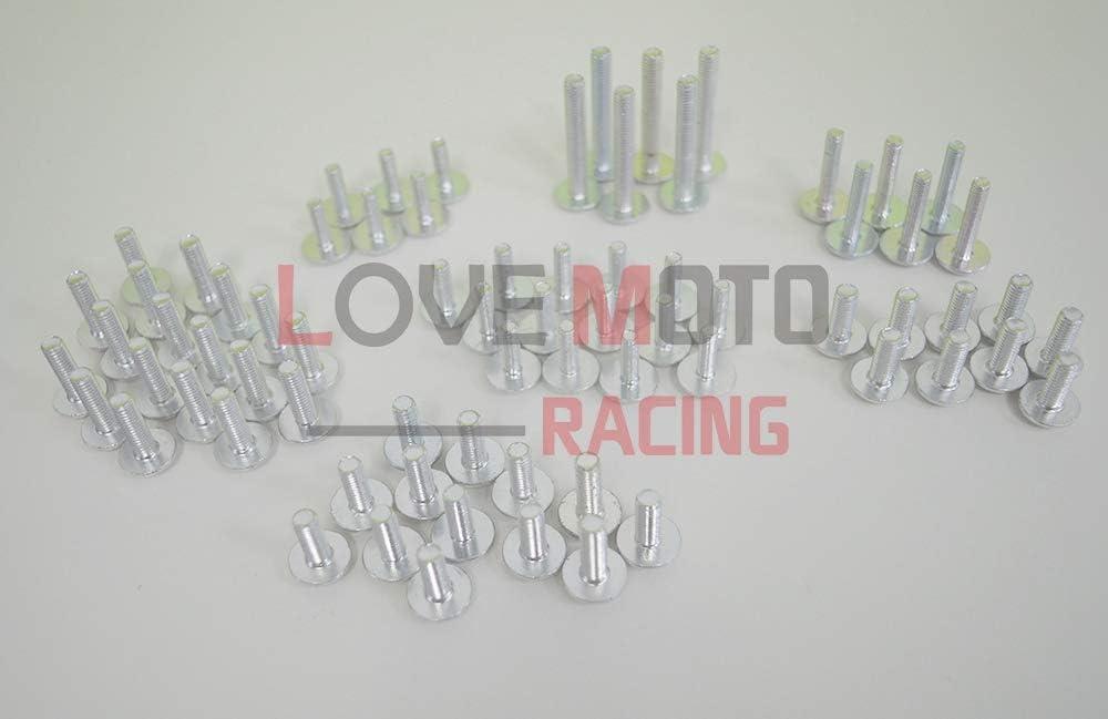 carenatura complete da moto per GSXR 1000 K7 07 08 GSXR1000 K7 2007 2008 clip dell/'elemento di fissaggio con viti in alluminio Rosso Argento LoveMoto Kit vite bullone