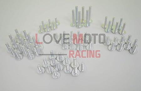 pour Z1000 2010 2011 2012 2013 10 11 12 13 Agrafes de fixation pour vis alu Rouge Argent LoveMoto Jeux de visserie complets pour car/énages moto