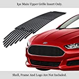 APS Compatible with 2013-2016 Ford Fusion Chrome Stainless Steel Black 8x6 Horizontal Billet Grille Insert F65940J