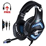 ONIKUMA Gaming Headset for PS4, Xbox One, PC, Gaming Headphones with 7.1 Stereo Surround Sound, Updated Noise Cancelling Mic, with Mute & Volume Control for Mac, Laptop, NS