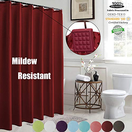 ROYACOR Fabric Shower Curtain with 12 Polyresin Hooks, Water-Repellent Rustproof Bath Curtain, 72x72 Non Toxic 100% Durable Polyester Shower Curtain Liner, Machine Washable,Easy to Install-Wine Red (Set Shower Curtain Red)
