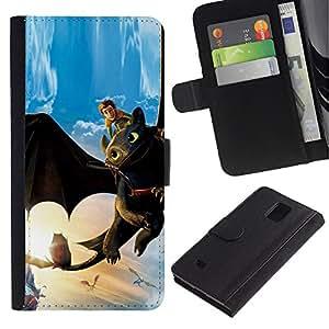 YiPhone /// Tirón de la caja Cartera de cuero con ranuras para tarjetas - Tame Dragón - Samsung Galaxy Note 4 IV