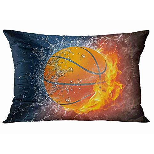Tarolo Decorative Pillow Cover Case Ice and Fire Flaming Basketball Fire and Water Throw Pillow Cases Covers Home Decor Bedding Water and Flame Pillowcase 20x30 Inches Two Sided Print Pillowcases (Basketball Pillowcase)