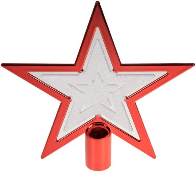 Clever Creations Estrella roja y Blanca Adorno para coronar el /árbol de Navidad Pl/ástico Resistente a los Golpes Ideal para /árboles de Cualquier tama/ño 16,5 cm